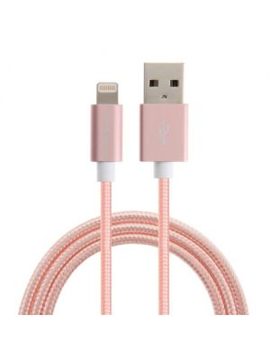 Optimus usb data kabel, iphone5/6/7/8 kompatibilan,nylon meš visokootporan na abraziju, 1m, rozi
