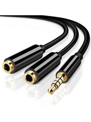 Optimus audio kabel 3.5mm muški na 2x3.5mm ženski, 0,3m, crni
