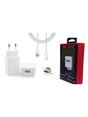 Optimus usb punjač 1xusb izlaz: 10w (5v-2a)+usb C data kabel, 1.5m, bijeli
